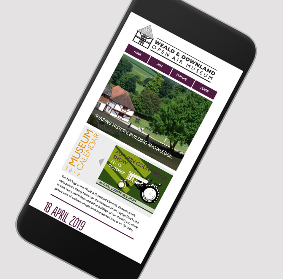 weald and downland mueum mobile website